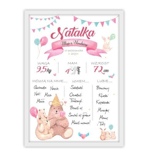 Plakat urodzinowy dla dziewczynki