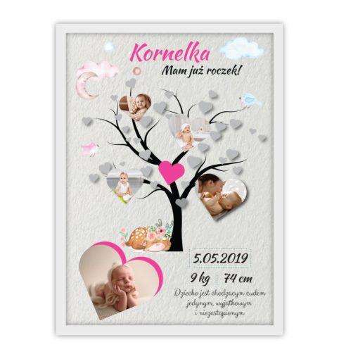 Plakat urodzinowy ze zdjęciami dla dziewczynki