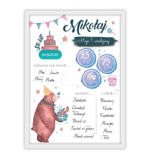 Plakat urodzinowy z misiem