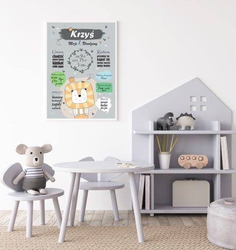 Plakat urodzinowy z lwem