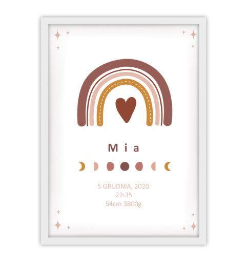 Metryczka minimalistyczna dla dziewczynki